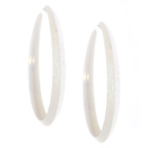 Iridescent 70MM Hoop Earrrings - White,