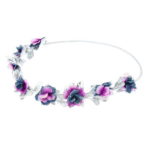 Silver Glitter Flower Crown Elastic Headwrap - Purple,
