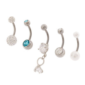 14G Diamond Ring, Pearl & Crystal Belly Rings  - 5 Pack,