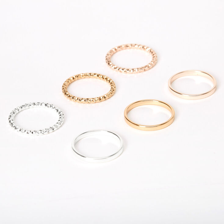 Mixed Metal Sleek Textured Rings - 6 Pack,