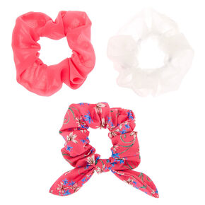 Floral Bow Hair Scrunchies - Pink, 3 Pack,