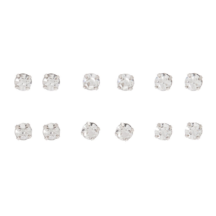 Rose Gold 4MM Crystal Stud Earrings - 6 Pack,