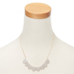Rose Gold Glitter Statement Necklace - Silver,