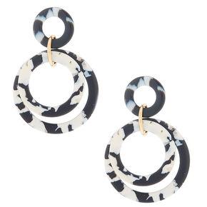 "Gold 2"" Layered Tortoiseshell Drop Earrings - Black,"