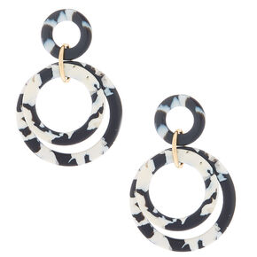 "Gold 2"" Layered Tortoiseshell Drop Earrings - Black,"