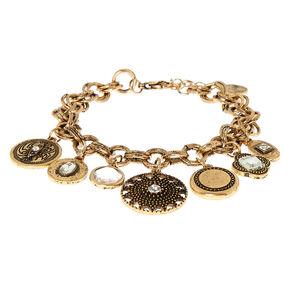 Gold Medallion Charm Bracelet,