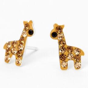 Sterling Silver Crystal Giraffe Stud Earrings - Brown,
