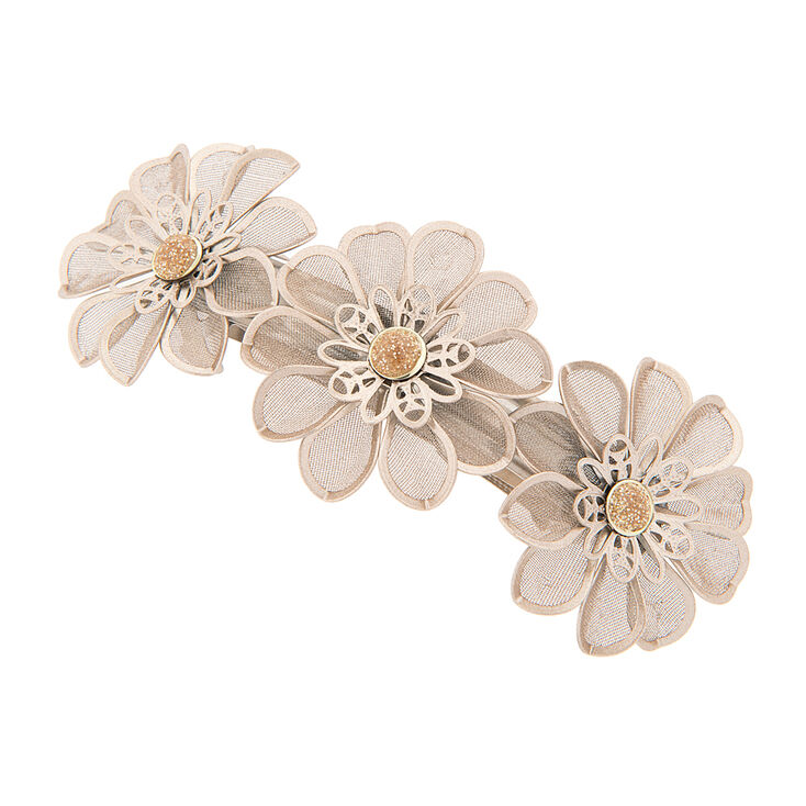 Trio of Gold Flowers Hair Clip,