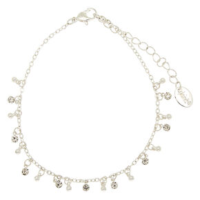 Silver Beaded Anklet,