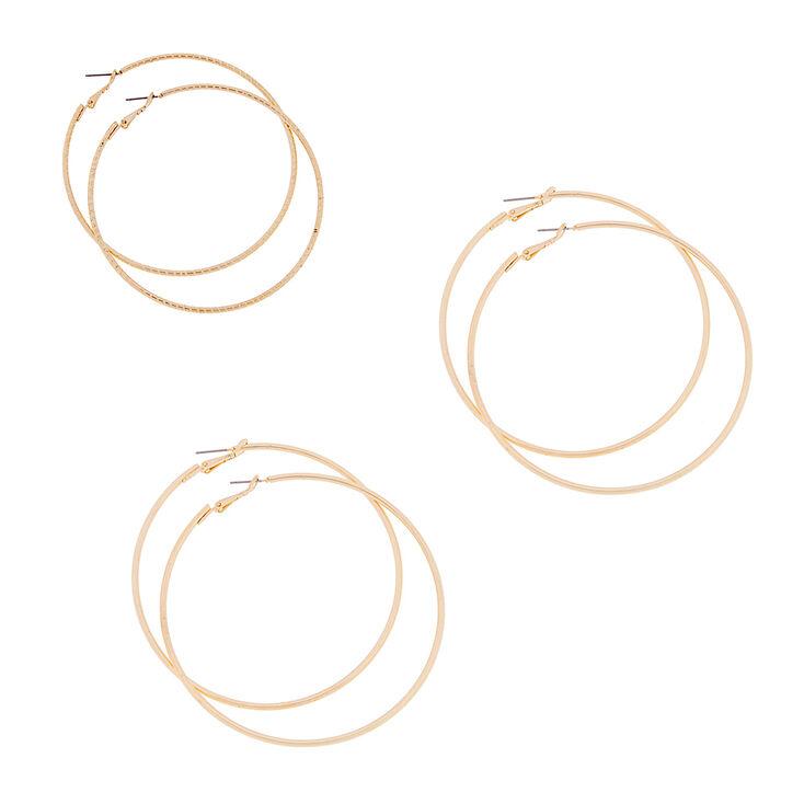 70MM, 75MM & 80MM Gold Polished & Laser Cut Hoop Earrings  - 3 Pack,