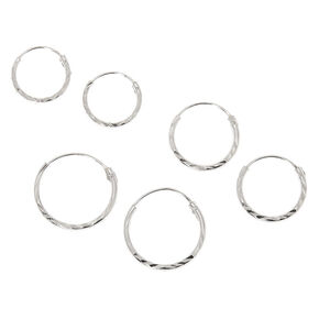 Sterling Silver Graduated Laser Cut Hoop Earrings - 3 Pack,