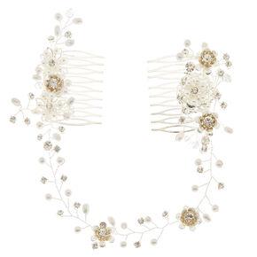 Simulated Pearl & Crystal Flower Hair Swag,