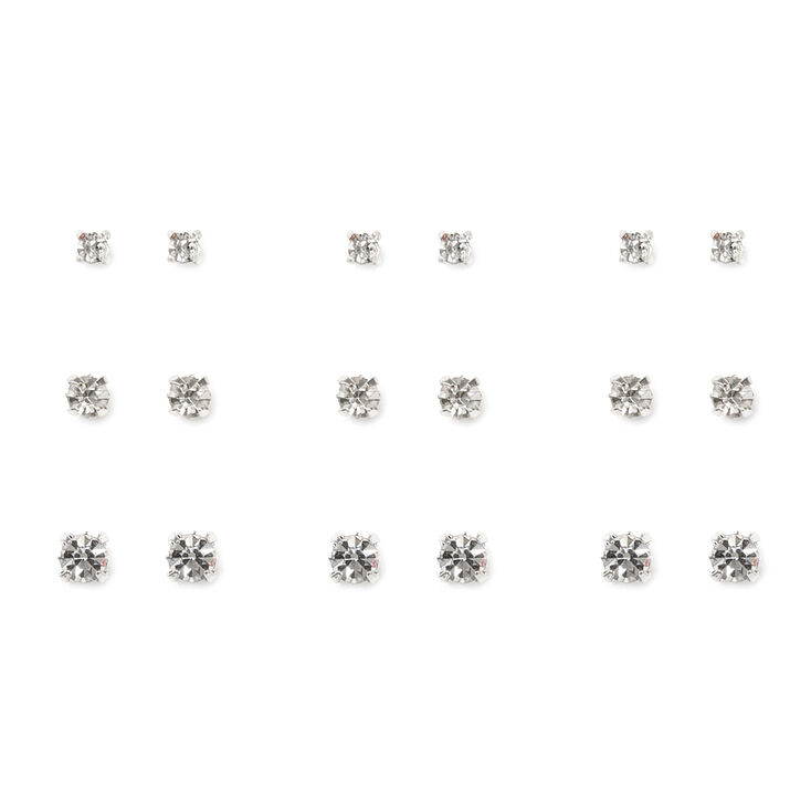 Graduated Square Set Crystal Stud Earrings Set of 9,