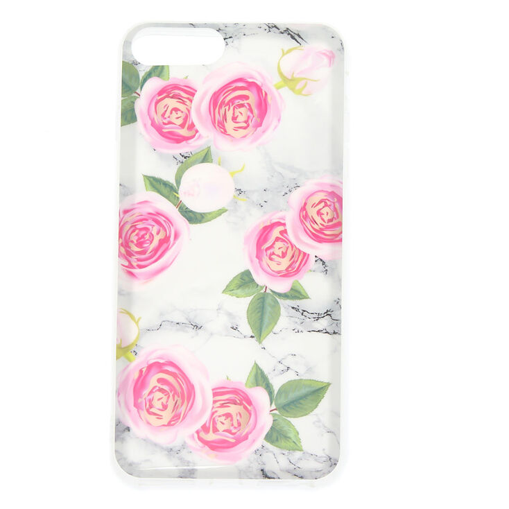 Pink Peonies Marbled Phone Case - Fits iPhone 6/7/8 Plus,