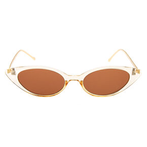 Gold Slim Cat Eye Sunglasses - Brown,