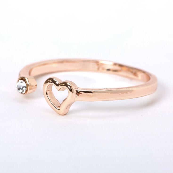 Rose Gold Open Heart Ring,