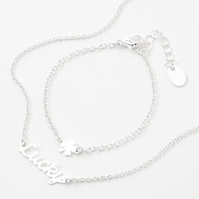 Silver Dainty Lucky Jewelry Set - 2 Pack,