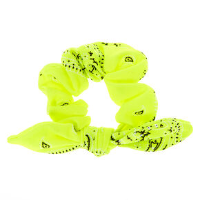 Bandana Knotted Bow Hair Scrunchie - Neon Yellow,