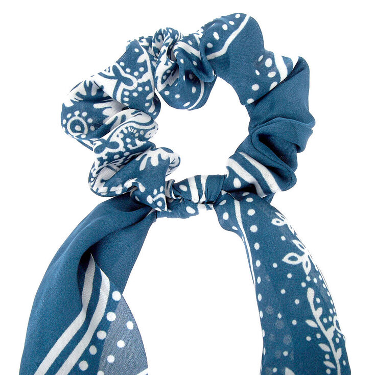Small Paisley Hair Scrunchie Scarf - Blue,