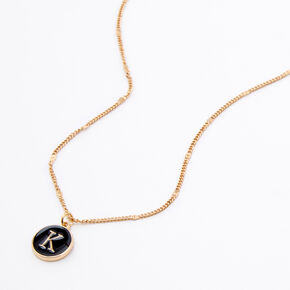 Gold Enamel Initial Pendant Necklace - Black, K,