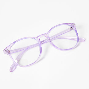 Blue Light Reducing Round Clear Lens Frames - Violet,