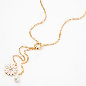 Gold Daisy Pearl Y-Neck Pendant Necklace,
