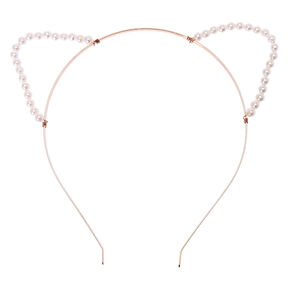 Rose Gold Pearl Cat Ears Headband,