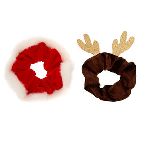 Santa & Reindeer Hair Scrunchies - 2 Pack,