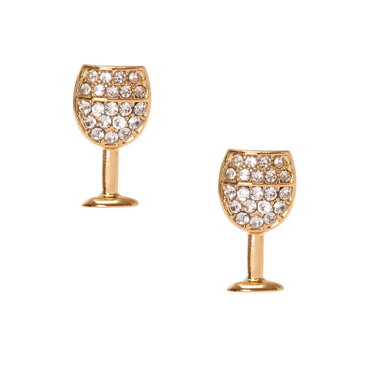 Gold Tone Clear Faux Crystal Studded Wine Glass Stud Earrings,