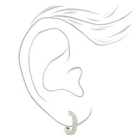 Silver 10MM Flat Glitter Hoop Earrings,