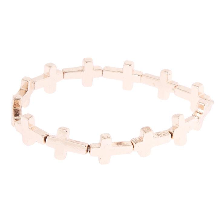 Rose Gold-Tone Stretch Cross Bracelet,