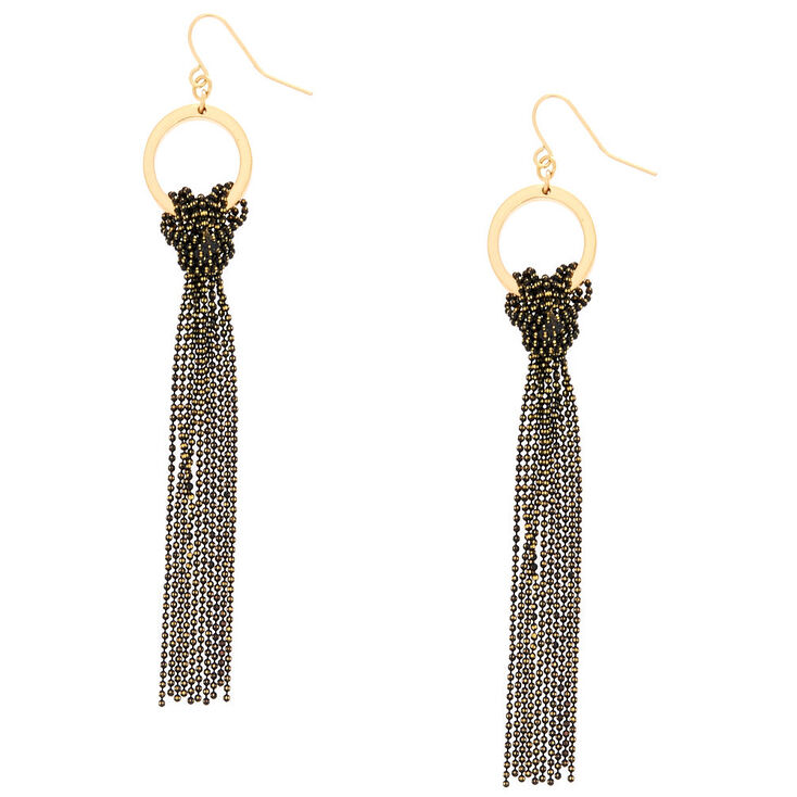 "Gold 3.5"" Knotted Bead Tassel Drop Earrings - Black,"