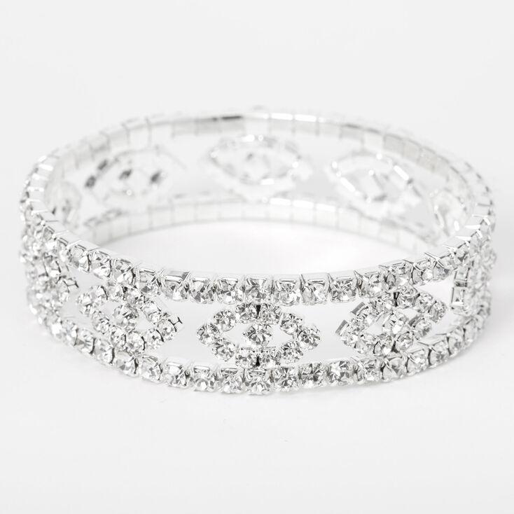 Silver Rhinestone Evil Eye Stretch Bracelet,