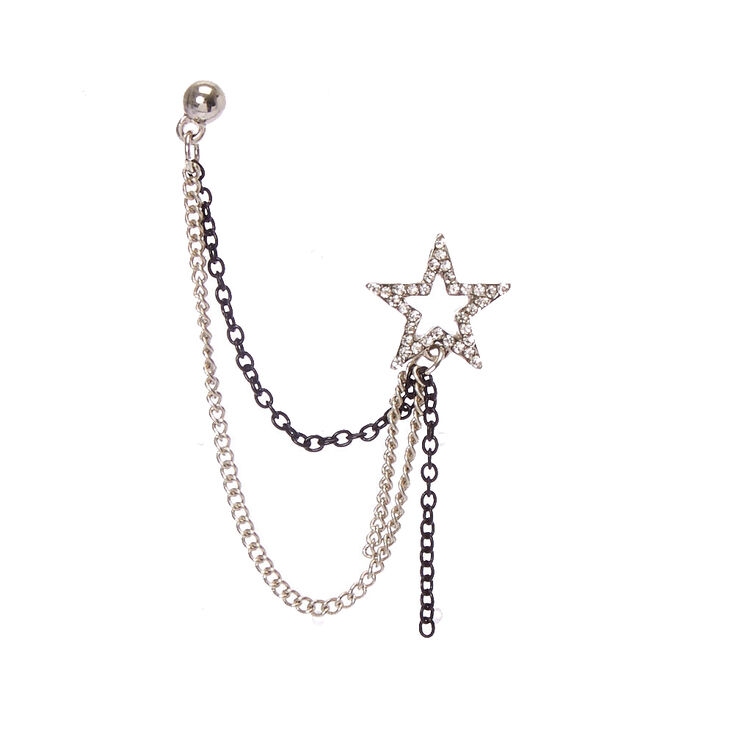 Silver Tone & Black Star Chain Earrings,