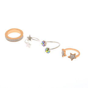 Mixed Metal Glitter Star Rings - 4 Pack,