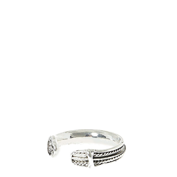 Silver-Toned Texturized Toe Ring,
