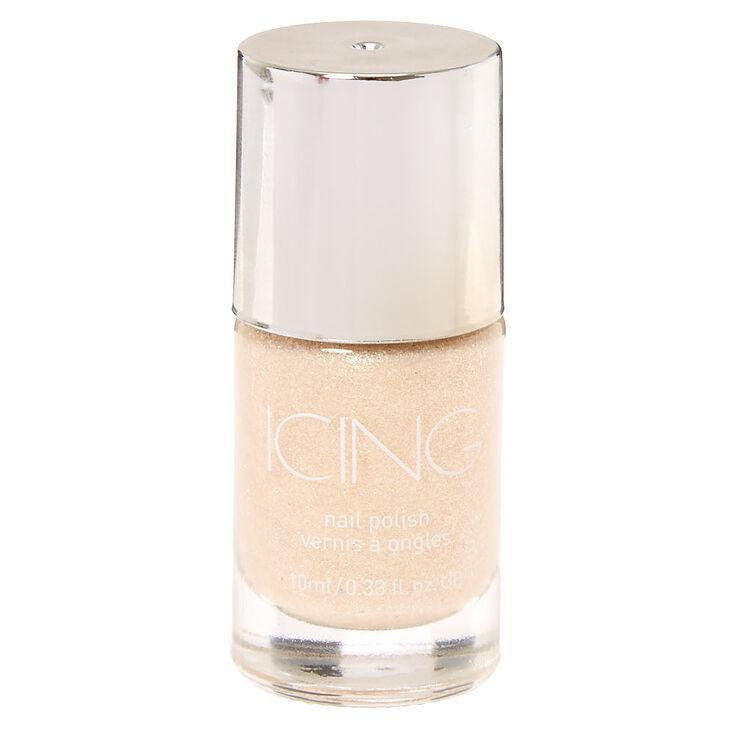 "White Glitter ""Beach Please!"" Nail Polish,"