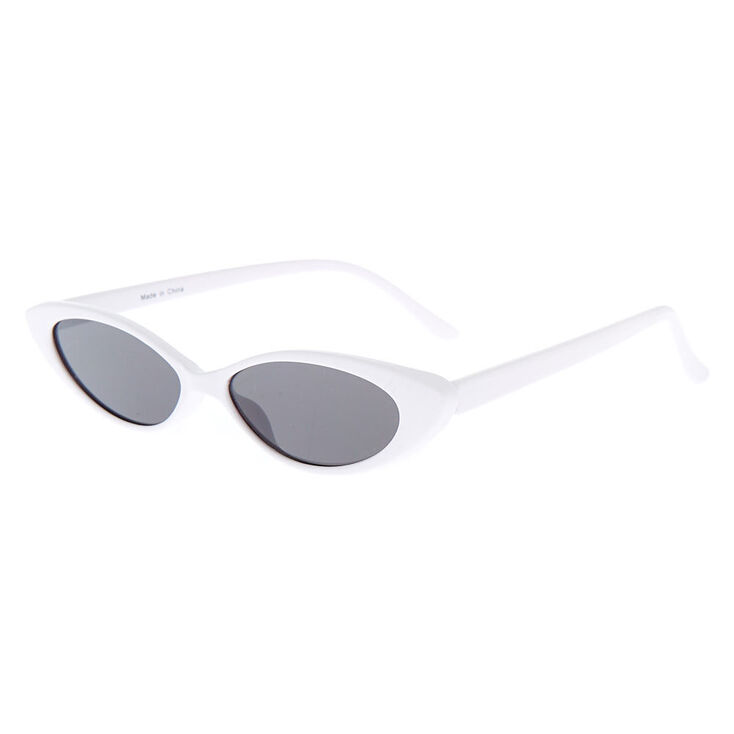 1950s Sunglasses & 50s Glasses | Retro Cat Eye Sunglasses Icing Slim Cat Eye Sunglasses - White $14.99 AT vintagedancer.com