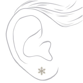 Sterling Silver Snowflake Stud Earrings - White,