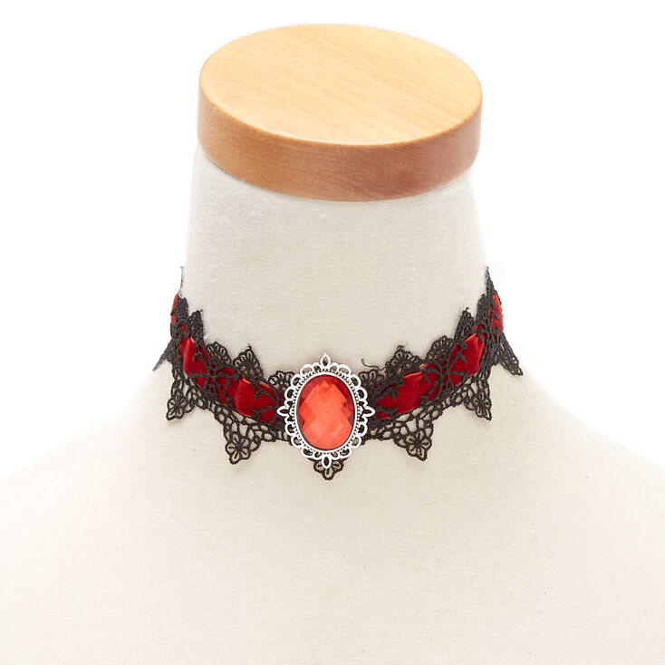 Victorian Costume Jewelry to Wear with Your Dress Icing Velvet Lace Choker Necklace - Red $7.99 AT vintagedancer.com
