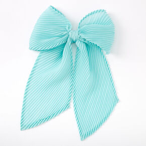 Pleated Chiffon Hair Bow Clip - Mint,