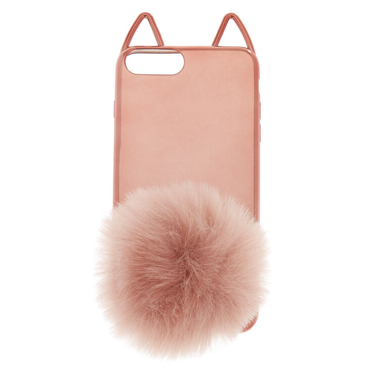 Rose Gold Cat Pom Phone Case - Fits iPhone 6/7/8 Plus,