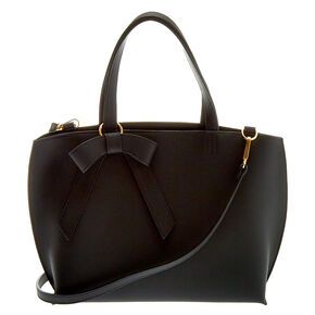 Bow Accent Satchel Crossbody Bag - Black,