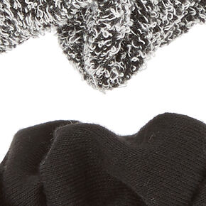 2 Pack Black & Sweater Gray Scrunchies,