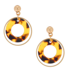 "Gold 1"" Round Layered Tortoiseshell Drop Earrings,"