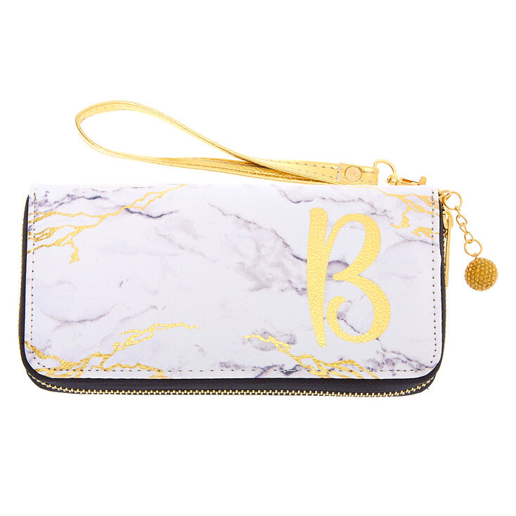 Marble Initial Wristlet - B,