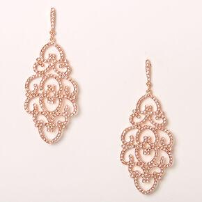 "Rose Gold 2.5"" Heart Filigree Drop Earrings,"