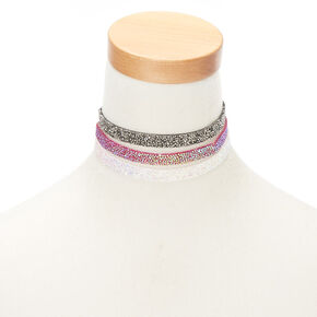 Embellished Choker Necklaces - 3 Pack,