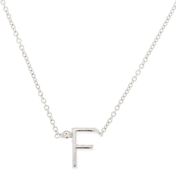 Silver Stone Initial Pendant Necklace - F,