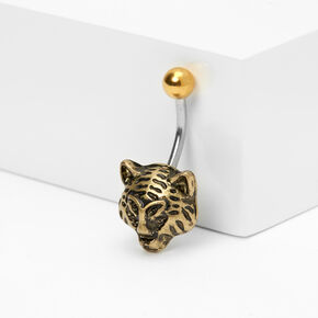 Gold 14G Tiger Belly Ring,
